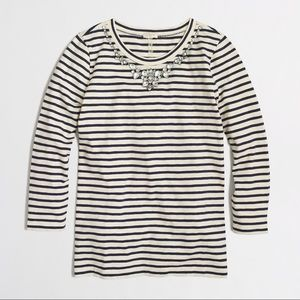 J. Crew Striped Jeweled Necklace Tee